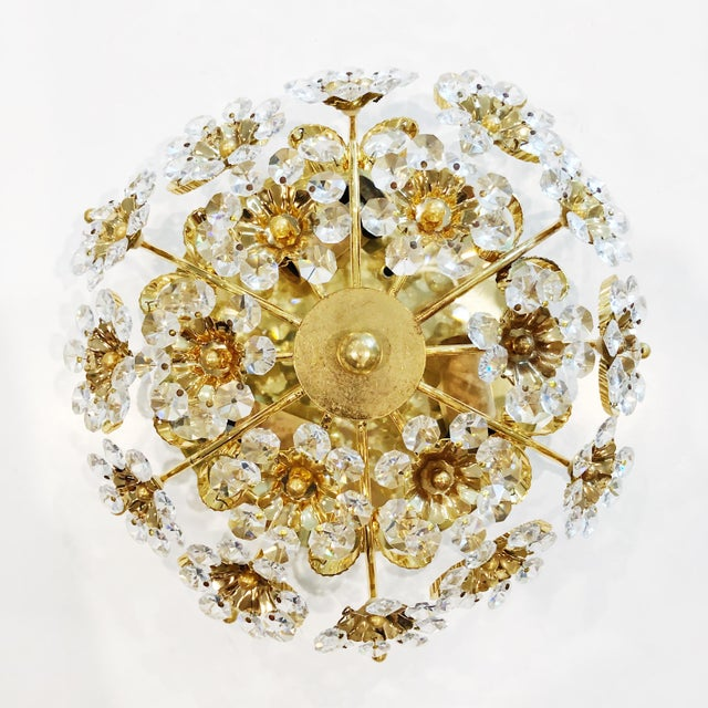 Boho Chic 1970s Cut Crystal Gilt Brass Flush Mount Ceiling Fixtures by Palwa - a Pair For Sale - Image 3 of 11