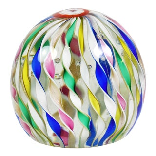 Italian Murano Design Twisted Ribbon Style Art Glass Paperweight For Sale