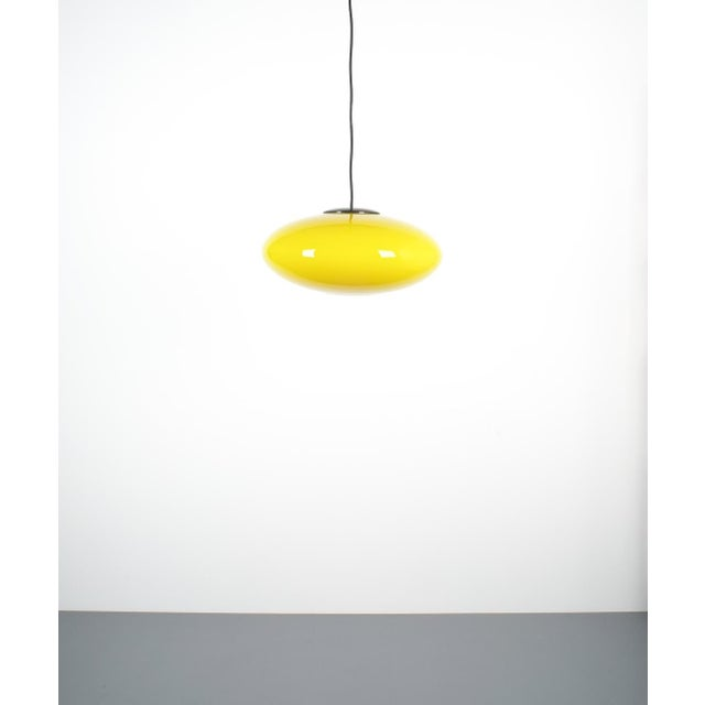 Italian Yellow Stilnovo Glass Ball Pendant Lamp, Midcentury Italy For Sale - Image 3 of 8