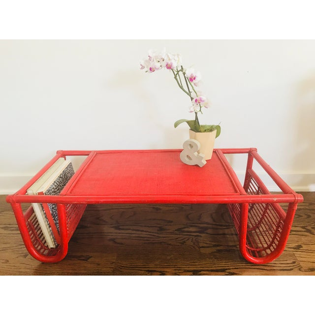 Vintage Red Bamboo Tray Table or Magazine Rack - Image 4 of 5