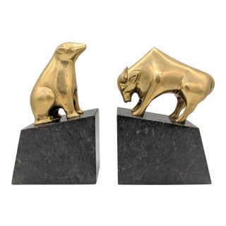 Vintage Brass Bull and Bear Wall Street Bookends on Marble Bases- a Pair For Sale
