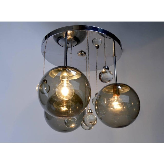 Mid-Century Modern Chrome Lightolier Flush Mount Bubble Chandelier For Sale - Image 3 of 8
