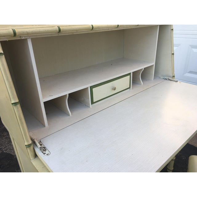 1970's Hollywood Regency Thomasville Faux Bamboo Secretary Desk and Bench - 2 Pieces For Sale - Image 10 of 13
