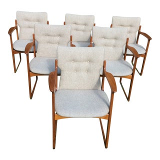 Vintage Mid-Century Vamdrup Stolefabrik Danish Teak Dining Chairs - Set of 6 For Sale