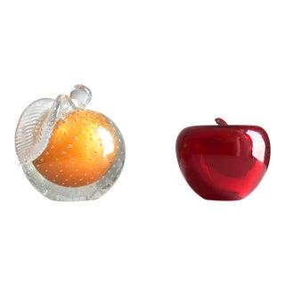 1960s Mid-Century Murano Glass Apple & Peach Fruits - a Pair