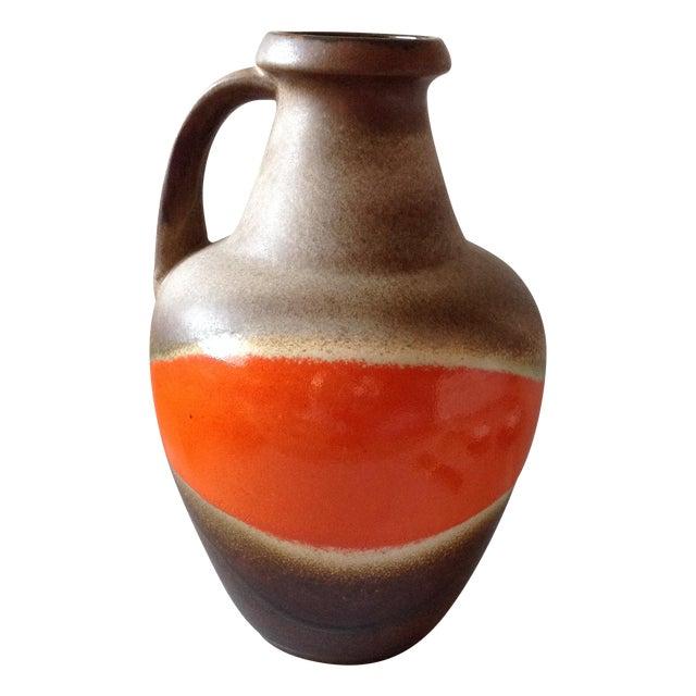 Orange and Brown Fat Lava Floor Vase - Image 1 of 11