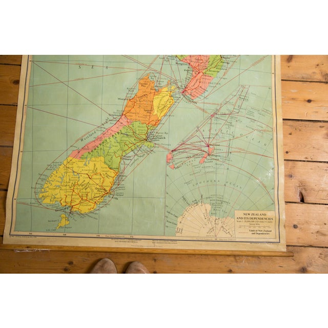 1960s Vintage New Zealand Pull Down Map - Image 3 of 8