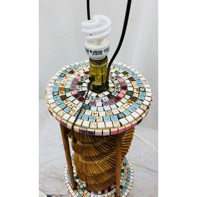 Blue Vintage Folk Arts & Crafts Lamp For Sale - Image 8 of 10