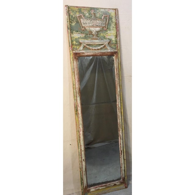 This Louis XV style trumeau mirror has the original patina that has been scraped with its sectioned mirror intact. Green,...