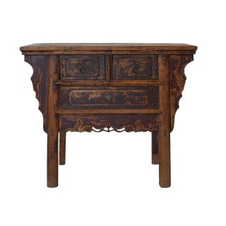 Vintage Chinese 3-Drawer Console Cabinet For Sale