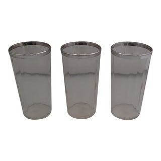 Mid-Century Silver Rim Bar Glasses- Set of 3 For Sale