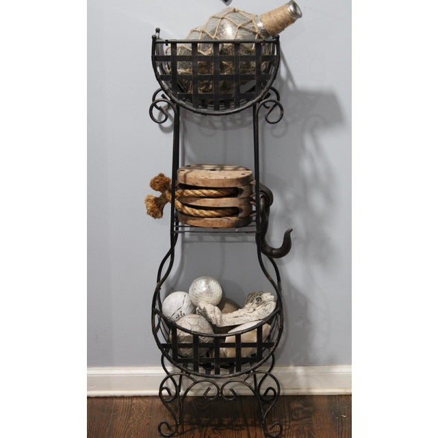 French Country Cast Iron Tiered Metal Plant Stand For Sale - Image 6 of 7