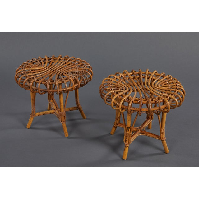 Mid-Century Modern A Petite Pair of Sculptural Rattan Stools For Sale - Image 3 of 10