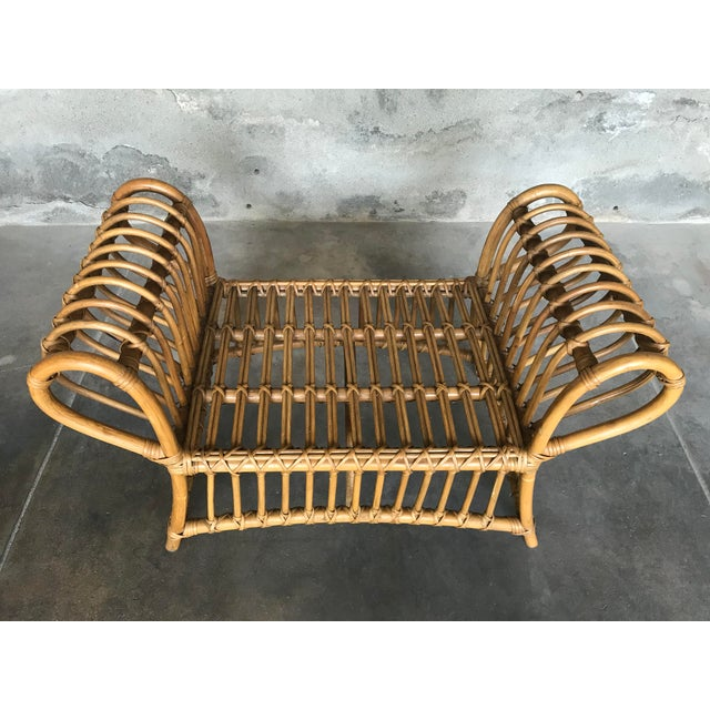 1980s Vintage Rattan Lounge Chair & Ottoman For Sale - Image 11 of 13