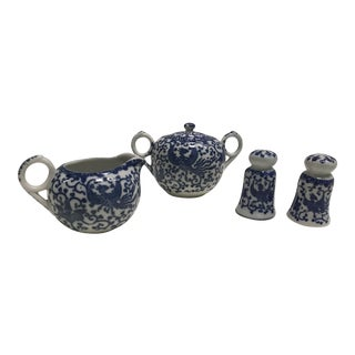 Blue & White Tea Accessories- Set of 4 For Sale