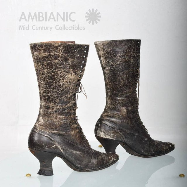 Brown Pair of Ladies Victorian High-Top Leather Boots For Sale - Image 8 of 9