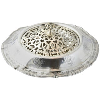 20th Century Louis XIV Ornate Sterling Silver Flower Display Bowl For Sale