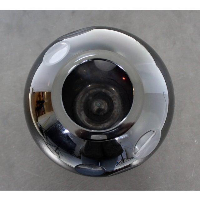 A.V. Mazzega 1980s Contemporary Cased Mazzega Murano Black Glass Vase For Sale - Image 4 of 6