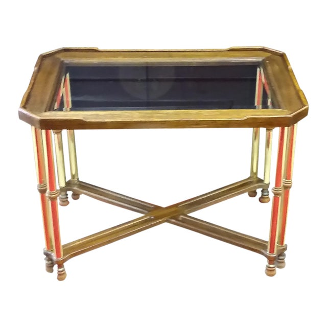 Hollywood Regency Glass Top Wood & Brass End Table For Sale
