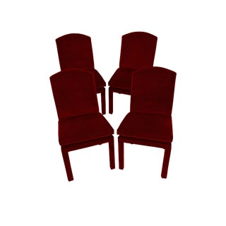 Milo Baughman Ruby Mohair Velvet Dining Chairs - Set of 4