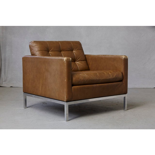 1970s Florence Knoll Tan Leather Button Tufted Lounge Chair, 1970s For Sale - Image 5 of 12