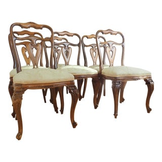 Mid 19th Century Vintage Italian Rococo Dining Room Chairs- Set of 6 For Sale