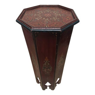 Hand-Painted Moroccan Pedestal Table For Sale