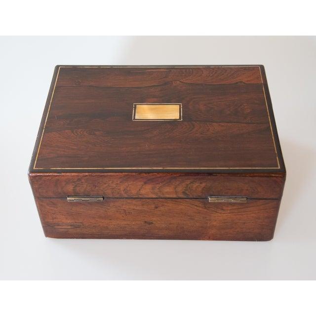 19th-Century English Rosewood Box, Lock & Key For Sale - Image 9 of 10