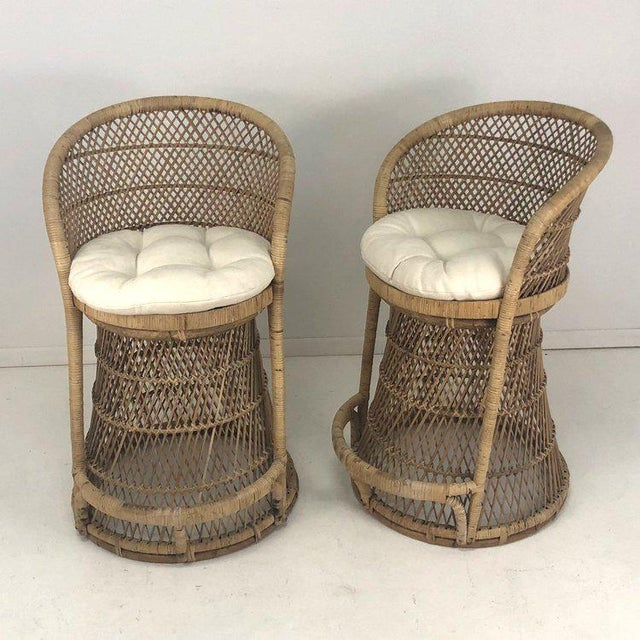 White Woven Rattan Wicker Barstools - a Pair For Sale - Image 8 of 8