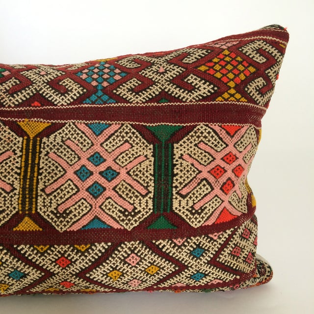 Burgundy Turkish Kilim Pillow - Image 10 of 11