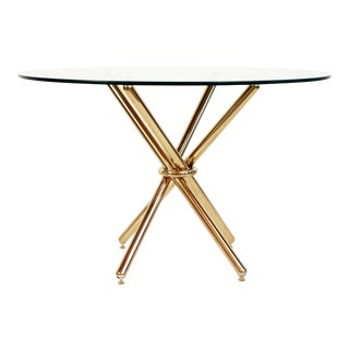 Mid Century Modern Brass Knot Dining Table For Sale