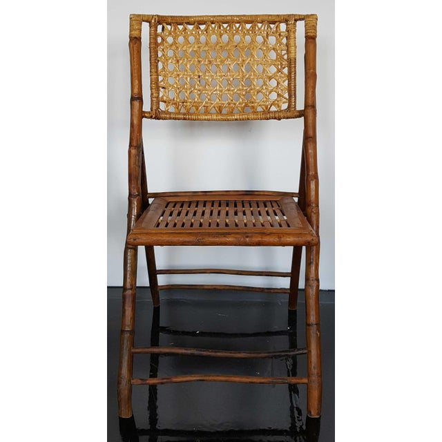 Boho Chic Rattan & Bamboo Folding Chairs - A Pair For Sale - Image 3 of 10