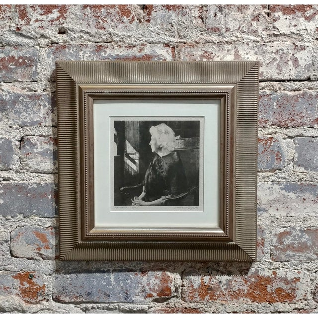 """Gold Original 1967 """"Portrait of Henrietta"""" Etching Print by Andrew Wyeth For Sale - Image 8 of 8"""