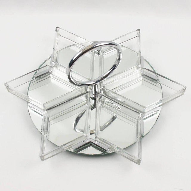 French Art Deco Cocktail Set Barware Mirror Serving Tray and Dishes - Image 9 of 10