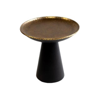 Handcrafted Bronze Round Cone Base End Table For Sale