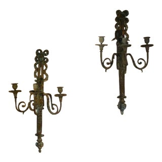 Pair 19th C Louis XVI Style Bronze 3-Lite Sconces For Sale