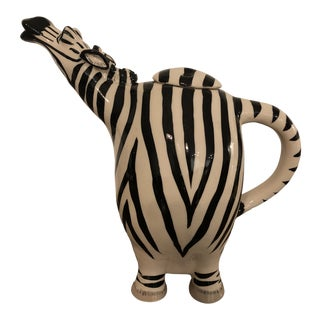 1990s Ceramic Zebra Tea Pot With Lid For Sale