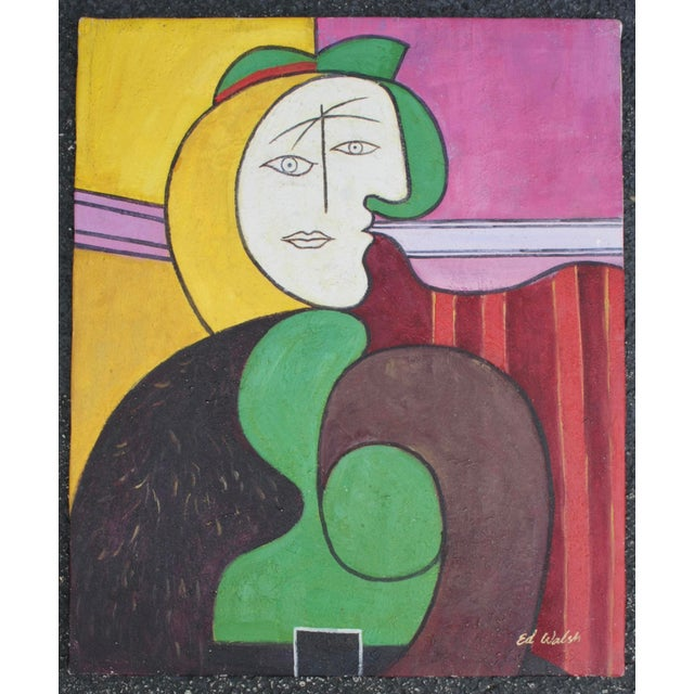 "Reproduction of Picasso's ""The Red Armchair"" Original Signed Painting - Image 2 of 6"