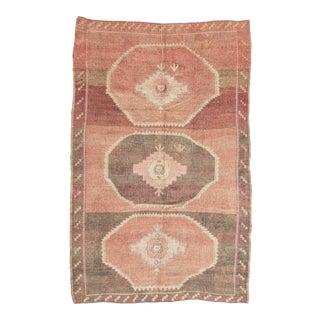 Vintage Brown and Pink Large Turkish Kars Wool Rug For Sale