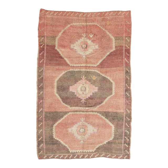 Vintage Brown and Pink Large Turkish Kars Wool Rug For Sale