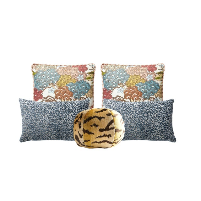 Traditional Scalamandre Sunrise Sea of Trees, Blue Leopard, and Tigre Pillow Bundle - Set of 5 For Sale - Image 3 of 3