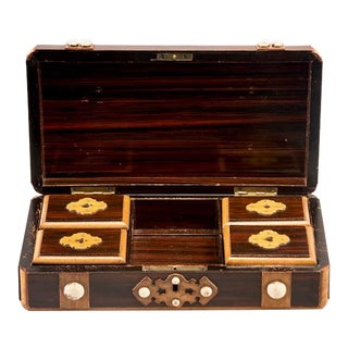 French Inlaid Mahogany Game Box With White Stones