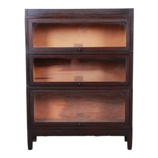 Globe-Wernicke Antique Mahogany Three-Stack Barrister Bookcase For Sale