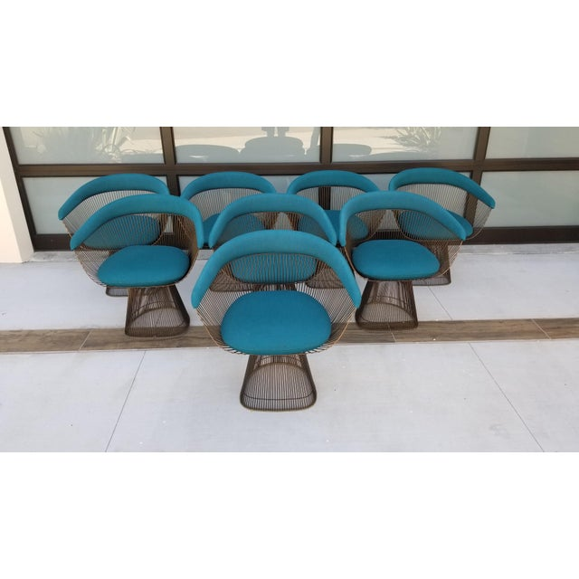 Vintage Mid Century Warren Platner Teal Dining Chairs- Set of 8 For Sale - Image 12 of 12