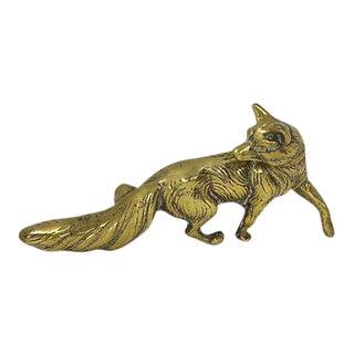 Antique English Brass Fox Paper Weight