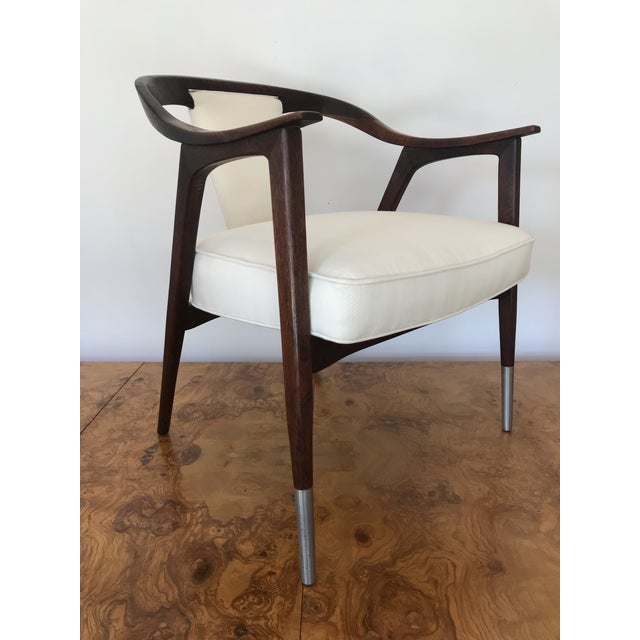 1950s Sculptural Mid-Century Modern Walnut Occasional Armchair Attributed to Gio Ponti Edward Wormley Home Office For Sale - Image 13 of 13