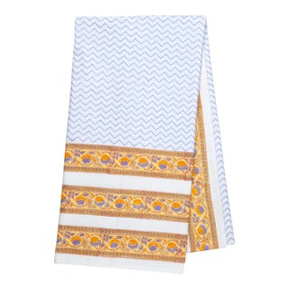 Juhi Chevron Tablecloth, 6-seat table - Periwinkle & Yellow For Sale