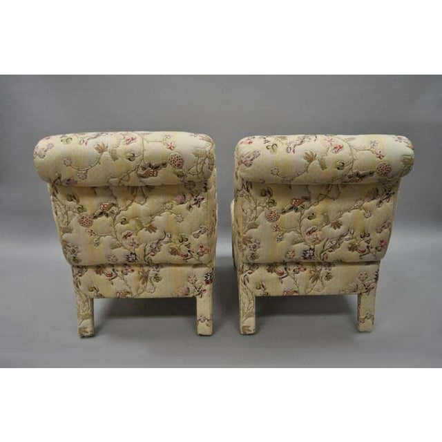 Wood Vintage Upholstered Chinoiserie Slipper Lounge Chairs- A Pair For Sale - Image 7 of 11