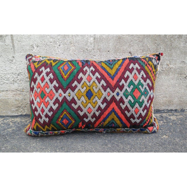 A Moroccan Berber wool pillow. Traditionally featuring geometric patterns. Pillows come STUFFED!