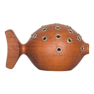 Whimsical Puffer Fish Toothpick Holder Appetizer Server in Solid Teak Denmark For Sale